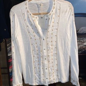 NWT Lucky Brand Cream Colored Button Up Blouse